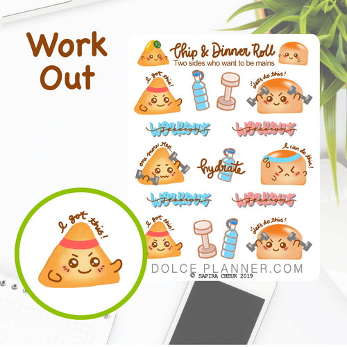 Workout, Gym Time, Chip & DInner Roll Character Planner Sticker