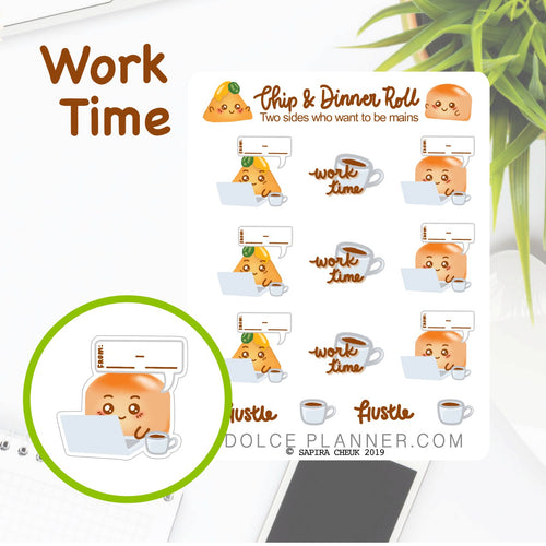 Work time, to-from hours, Chip & DInner Roll Character Planner Sticker