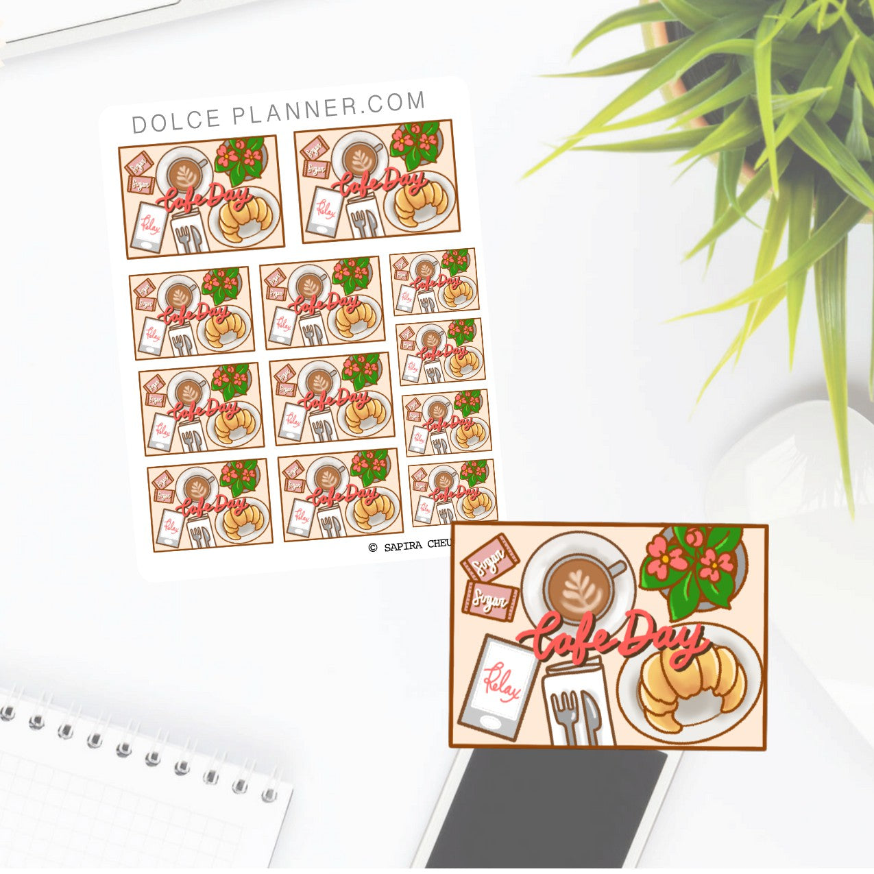 Cafe Day Flat Lay Planner Sticker