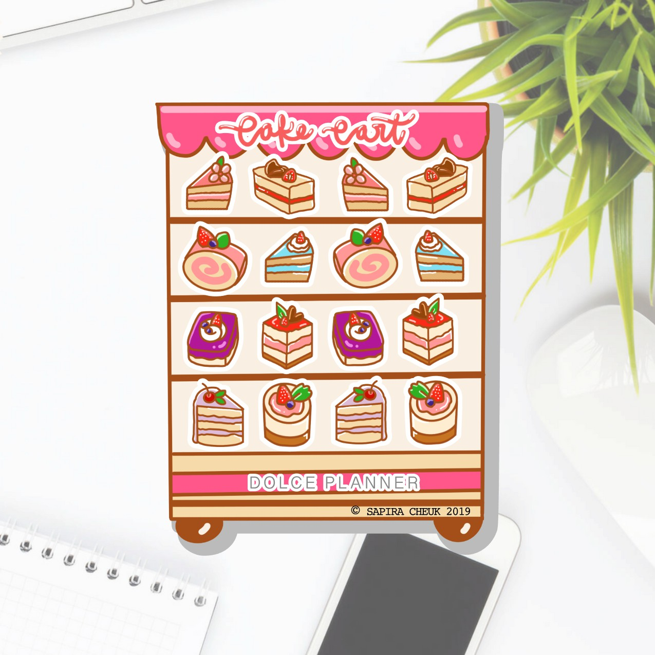 Cake Cart Planner Sticker