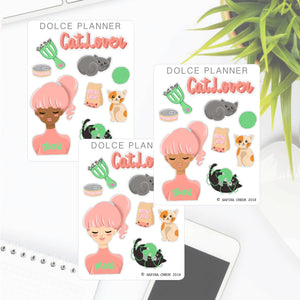 Cat Lover Girl Stickers