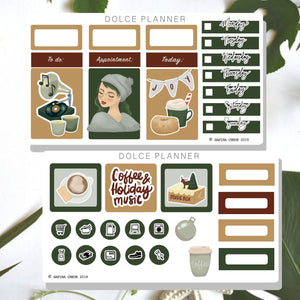 Coffee and Holiday Music Planner Stickers and Mini Kit