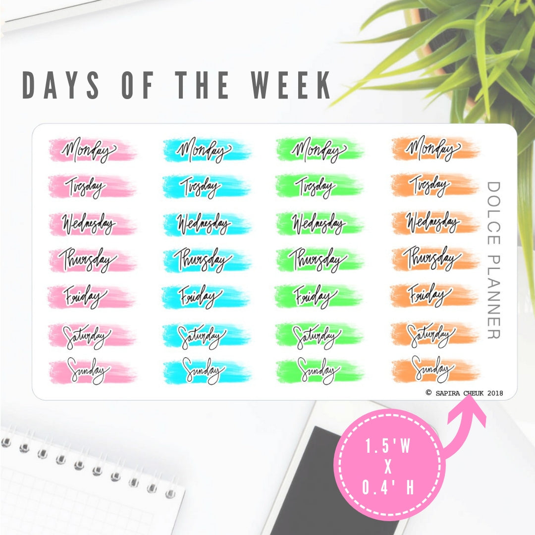 Days of the week sticker