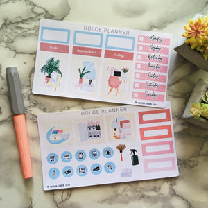 Clean and Declutter, Spring Cleaning Planner Sticker and Mini Kits