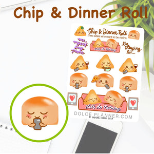 Relax, Let's do nothing Chip & DInner Roll Character Planner Sticker
