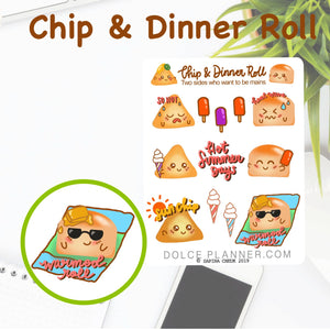 Hot Summer Days Chip & DInner Roll Character Planner Sticker