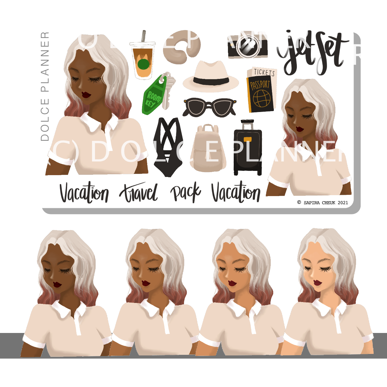 Jet Set Travel Vacation Traveling Stickers and Mini Kit