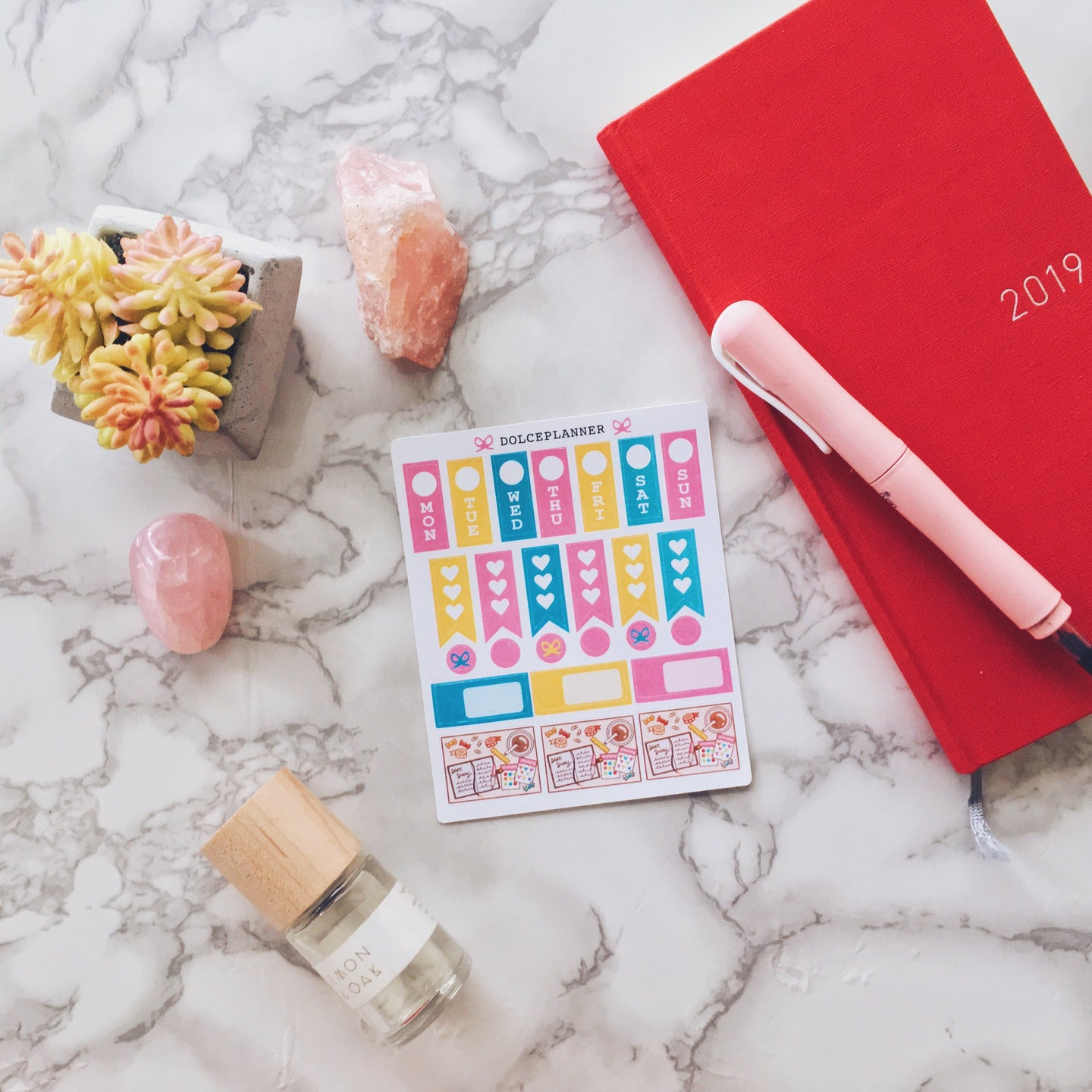 Journaling Flatlay Hobonichi Weeks Mini Kit Planner Stickers