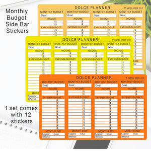 Monthly Budget Tracking Stickers - Monthly Budget Side Bar, Monthly Bills Tracker, Monthly Bill/Pay Day Reminder