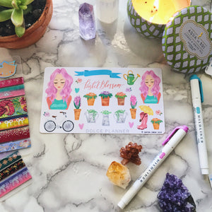 Pastel Blossom, Spring Garden, Flowers and Plants Planner Sticker and Mini Kits
