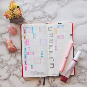 Work Flatlay Hobonichi Weeks Mini Kit Planner Stickers