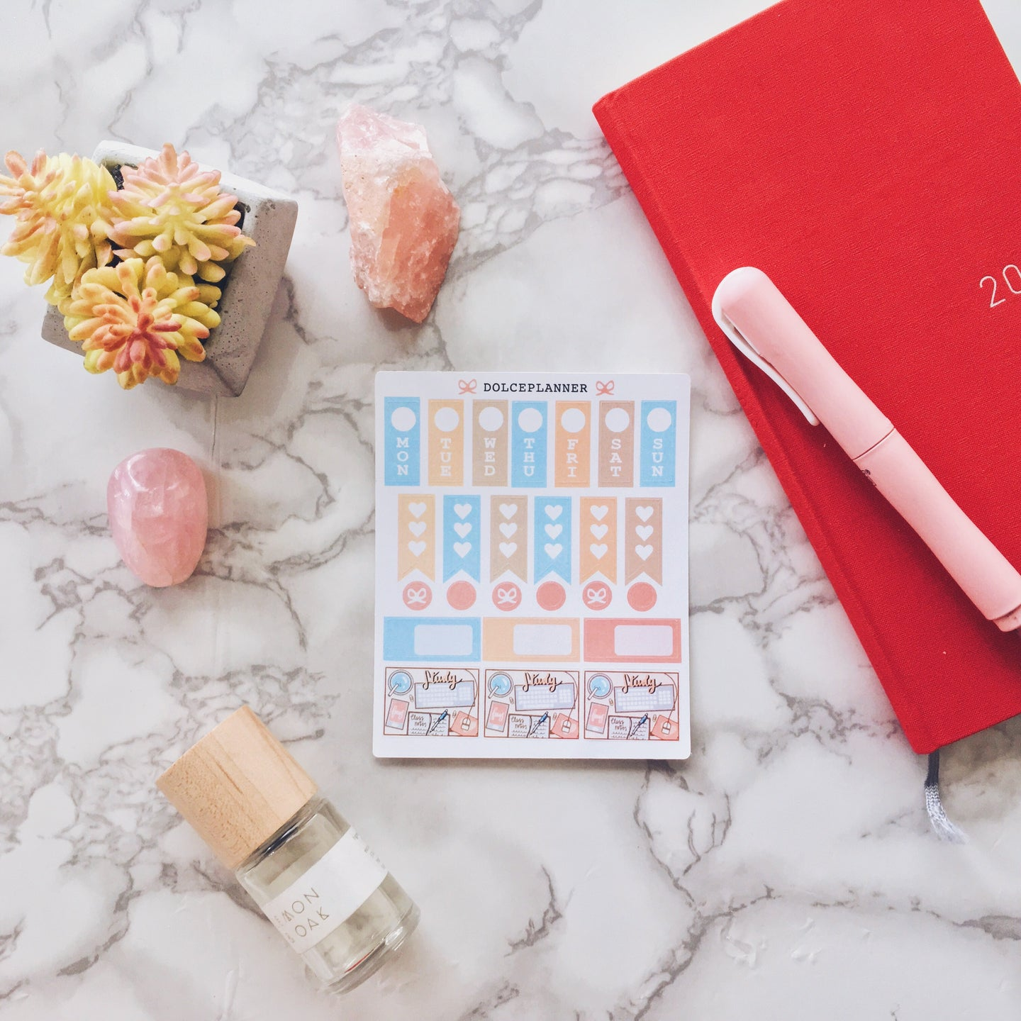 Study Flatlay Hobonichi Weeks Mini Kit Planner Stickers