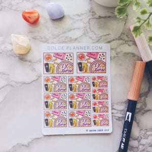 TV, binge watch, Flat Lay Planner Sticker