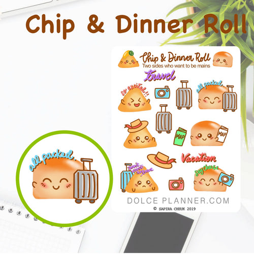 Travel and Vacation  Chip & DInner Roll Character Planner Sticker