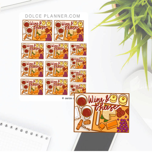 Wine and Cheese Flat Lay Planner Sticker