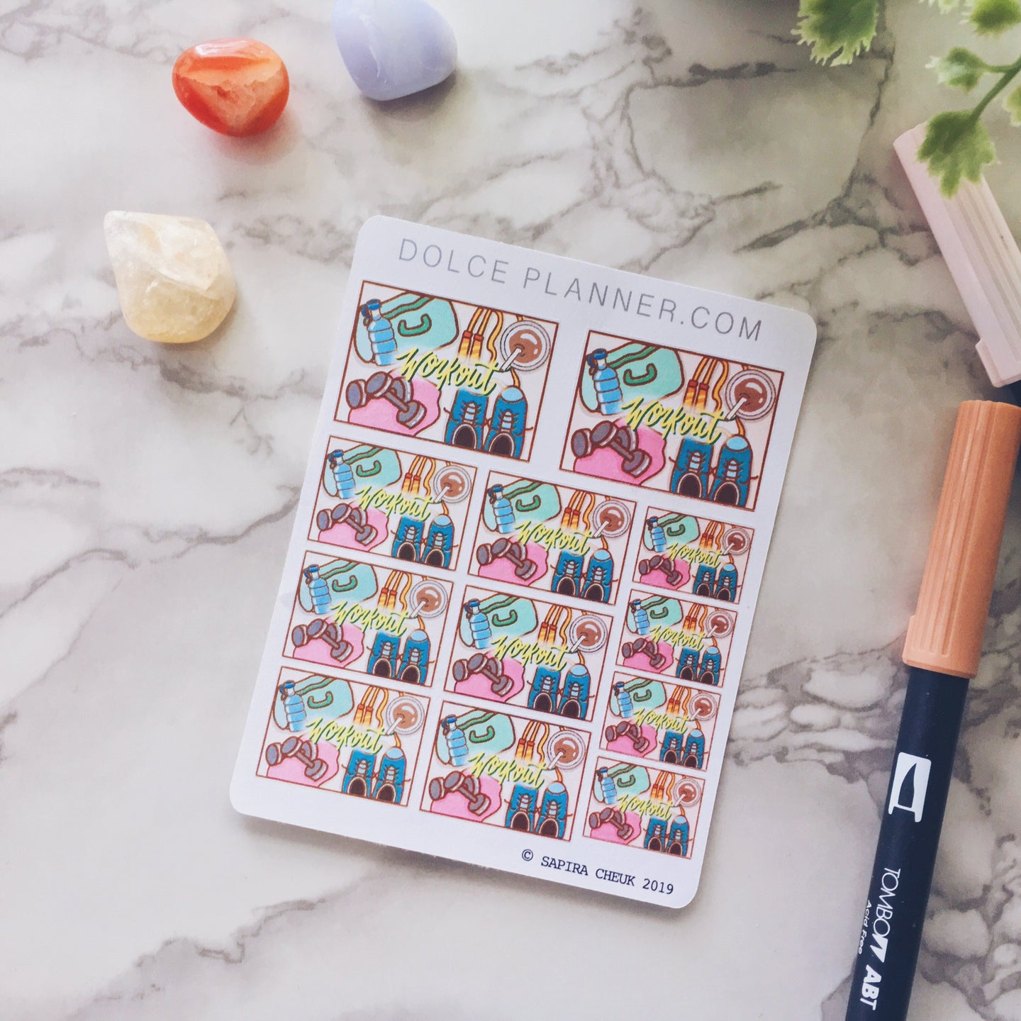 Workout, gym time Flat Lay Planner Sticker