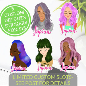 5 Custom Girl Die Cut Stickers