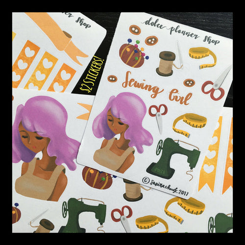 Sewing Girl Planner Sticker