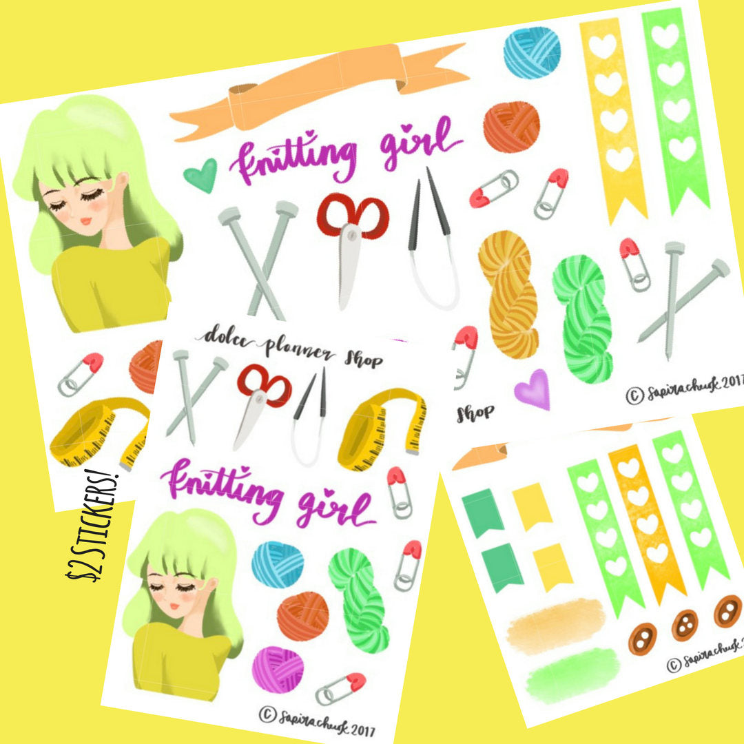 Knitting Girl Planner Sticker