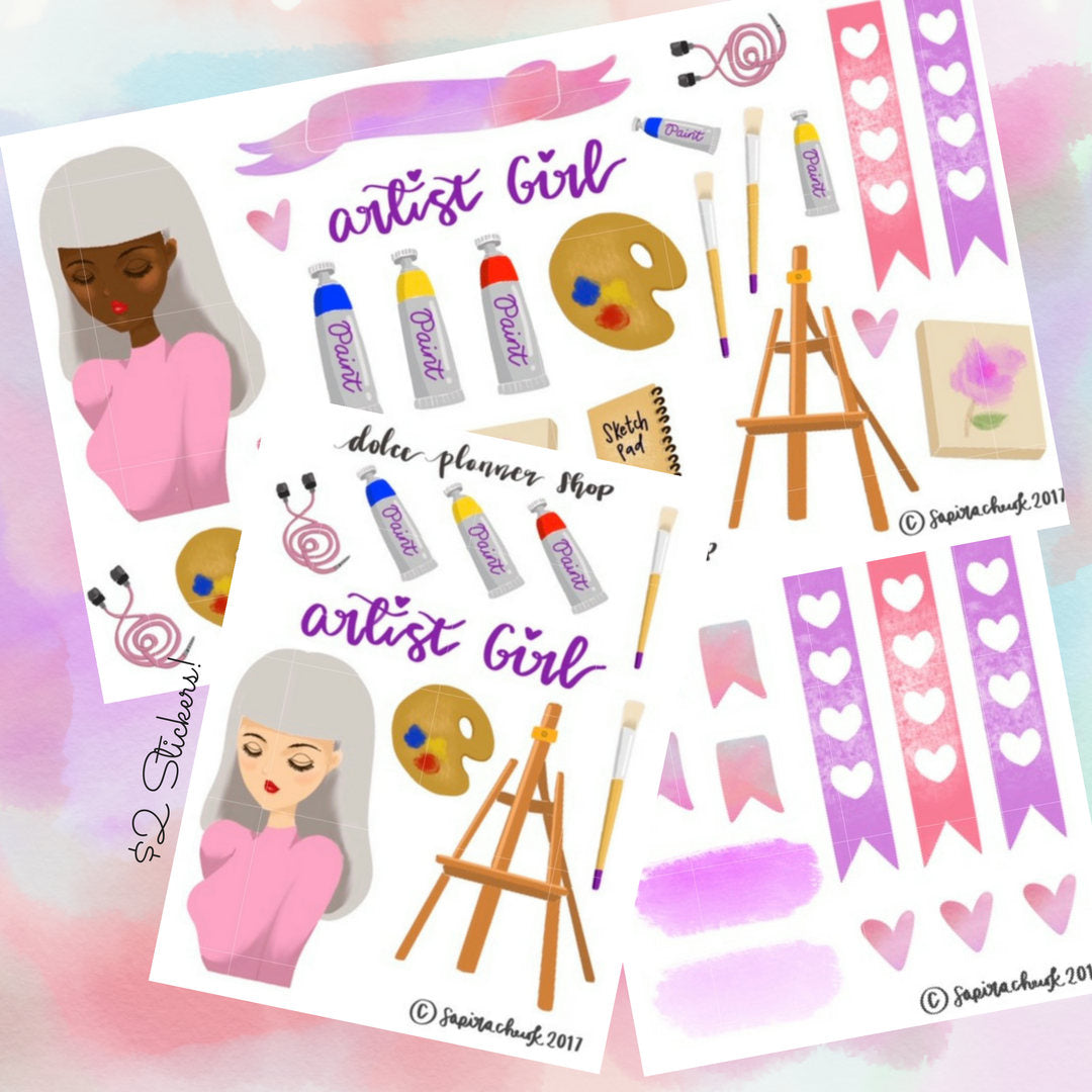 Artist Girl Planner Sticker