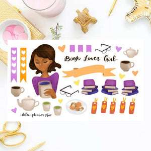 Book Lover Girl Planner Sticker