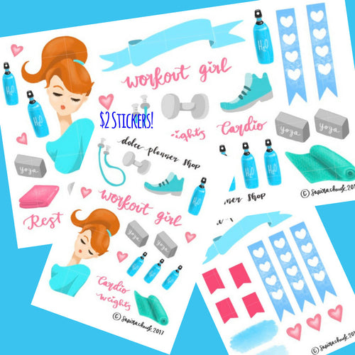 Workout Girl Planner Sticker