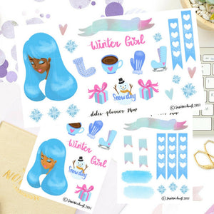 Winter Holiday Girl Sticker