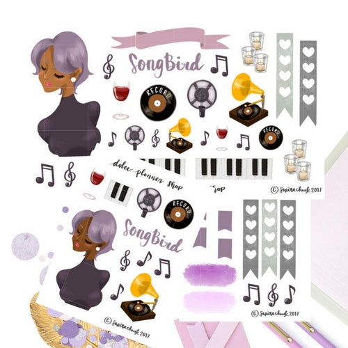 Song Bird Music Girl Sticker