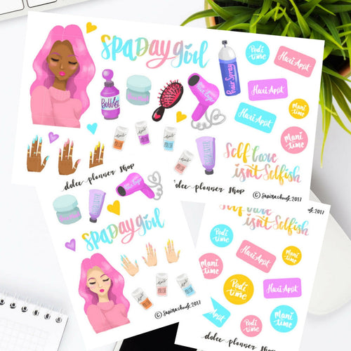 Spa Day Mani Pedi Self Care Stickers