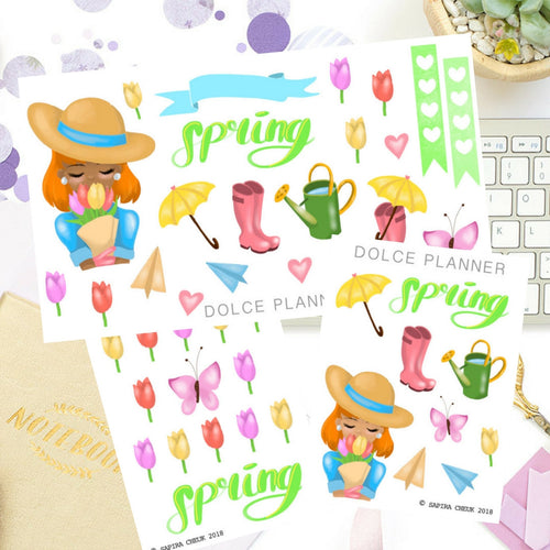 Spring Garden Girl stickers