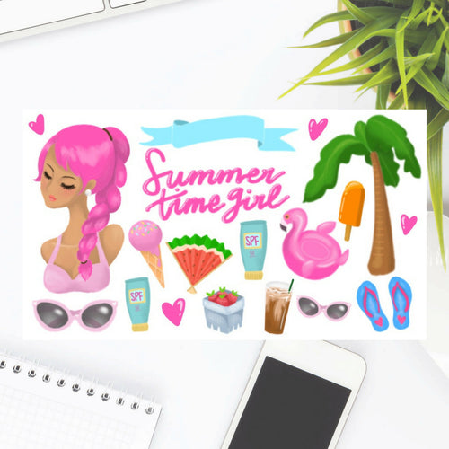 Summer Time Girl Planner Sticker