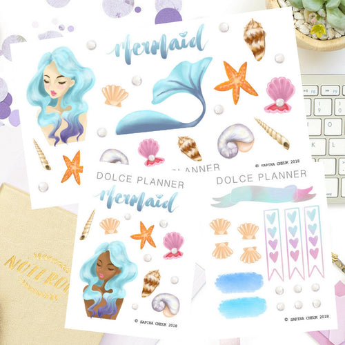 Mermaid Ocean Sea Planner Sticker