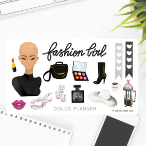 Fashion Girl, Bald Girl Sticker