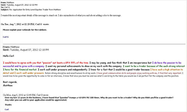 Write an email for applying job seeker