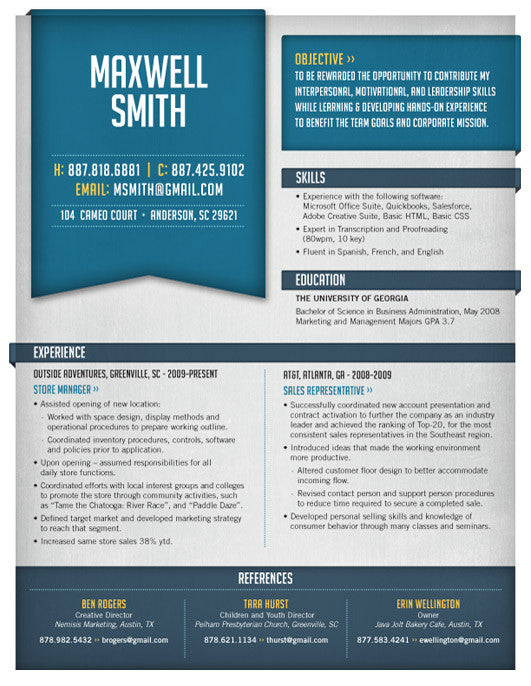 in or buy at collectionsloft resumesproductsmonday drive resume template blue - Loft Resumes Free
