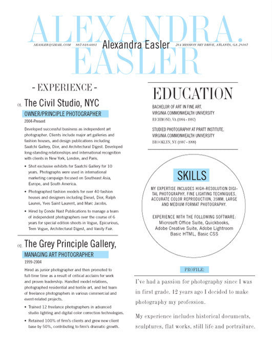... In Or Buy At /collections/loft Resumes/products/new Yorker Resume  Template Blue Save  Resume Template With Photo