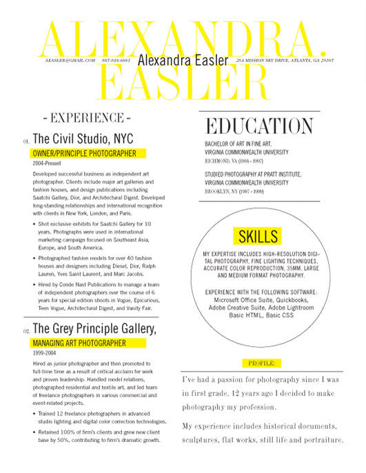 in or buy at collectionsloft resumesproductsnew yorker resume template yellow save - Buy Resume Template