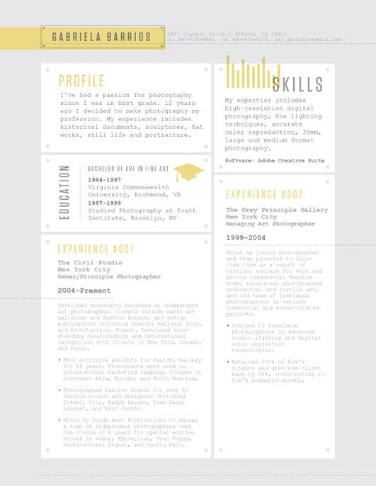 in or buy at collectionsloft resumesproductsrivet deck resume resume template yellow - Loft Resumes Free