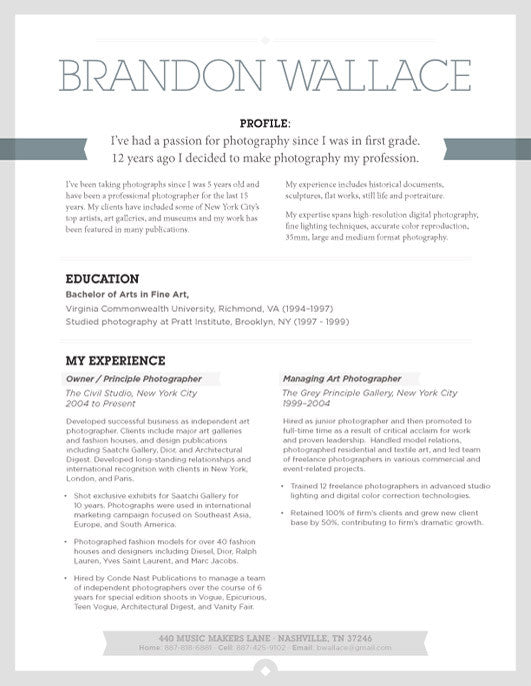 in or buy at collectionsloft resumesproductsurban shadow resume template grey