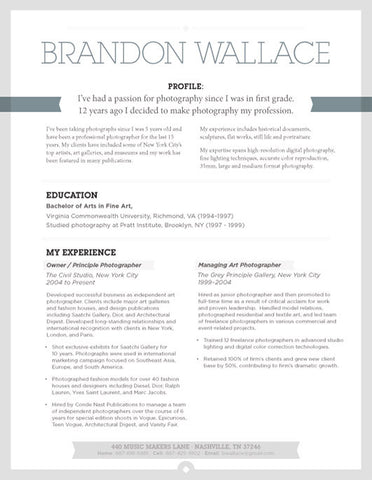 Document  Resume Template With Photo