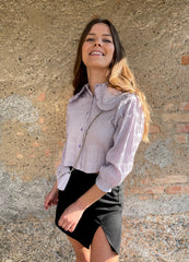 chemise col claudine lilas