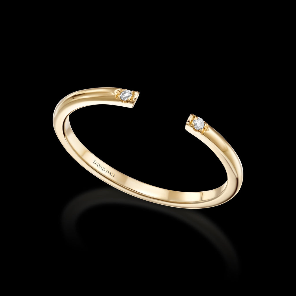VENICE 18K Yellow Gold Open Diamond Stack Ring