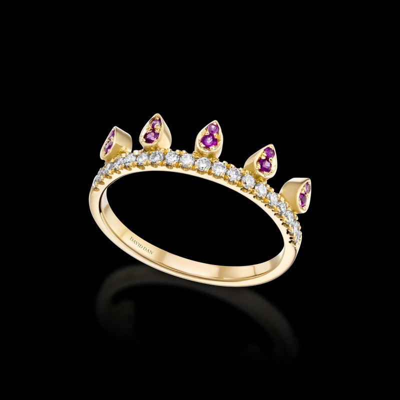 PINK BEVERLY DROP | 18K Yellow Gold Pink Sapphire Crown