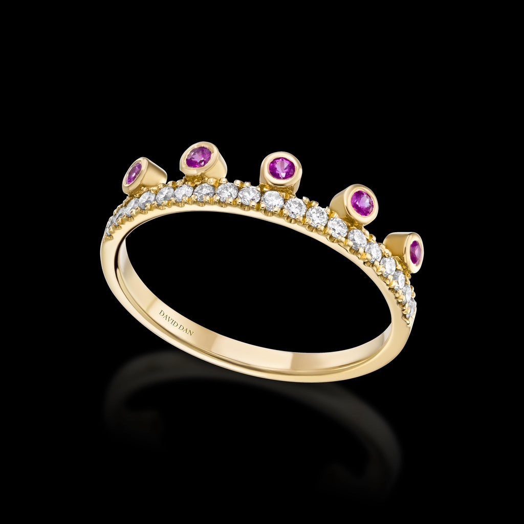 PINK BEVERLY HALO | 18K Yellow Gold Pink Sapphire Crown