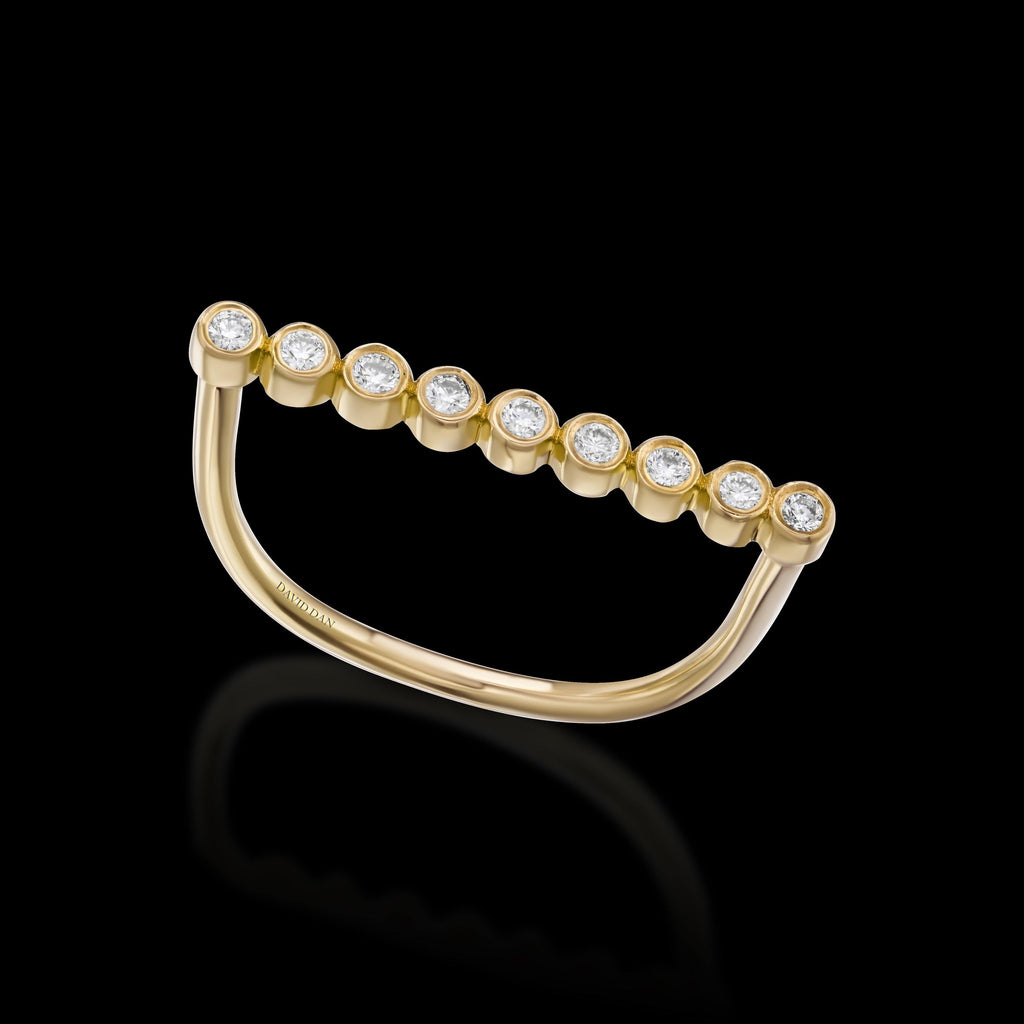 CALIFORNIA | 18K Yellow Gold Round Diamond Bar Ring