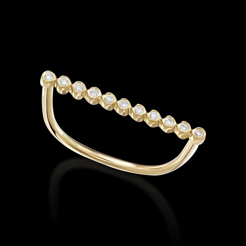 CALIFORNIA 11 | 18K Yellow Gold Round Diamond Bar Ring