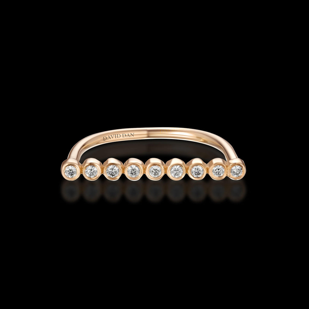 CALIFORNIA | 18K Rose Gold Round Diamond Bar Ring