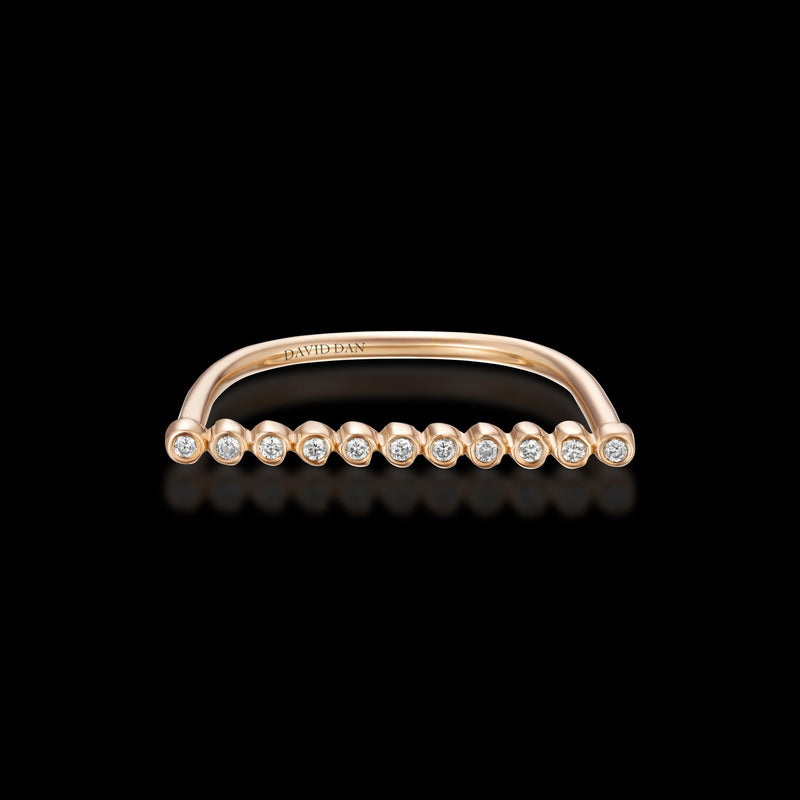 CALIFORNIA 11 | 18K Rose Gold Round Diamond Bar Ring
