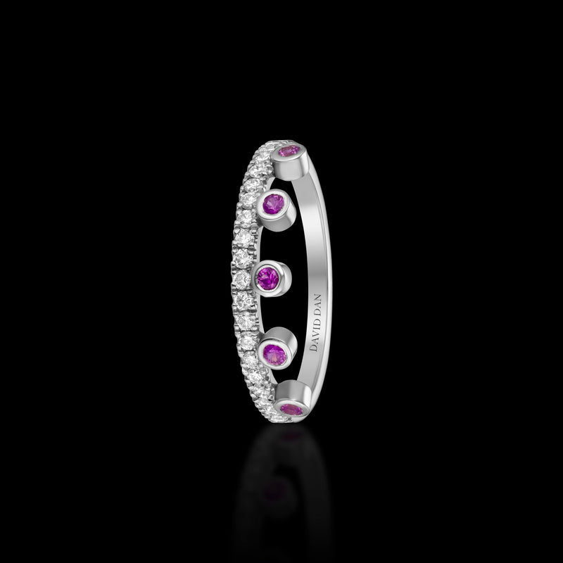 PINK BEVERLY HALO | 18K White Gold Pink Sapphire Crown