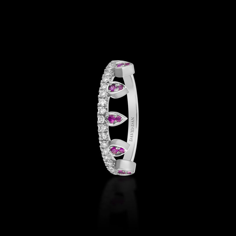 PINK BEVERLY DROP | 18K White Gold Pink Sapphire Crown